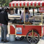 Picture of street seller in Istanbul selling corn.