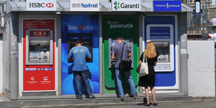 Picture of ATMs in Istanbul, Turkey.