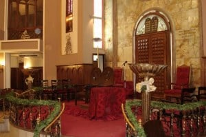 Picture of the interior of the Neve Shalom Synagogue in Istanbul, Turkey.