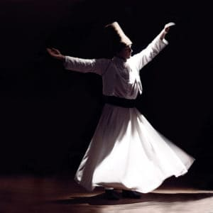 Picture of Whirling Dervishes in action in Istanbul, Turkey.