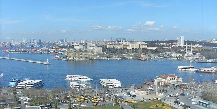 Aerial view of the Kadıköy dock in Istanbul, Turkey.