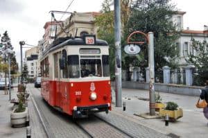 Picture of the nostalgic Kadıköy-Moda tram in Istanbul, Turkey.