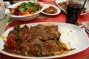 Picture of a plate of Bursa İskender Kebap in Istanbul, Turkey.