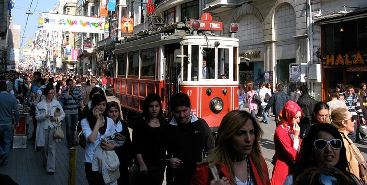 Picture of pedestrians walking on Istiklal Caddesi in Istanbul, Turkey.