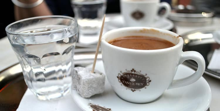Picture of a cup of Turkish coffee in Istanbul, Turkey.