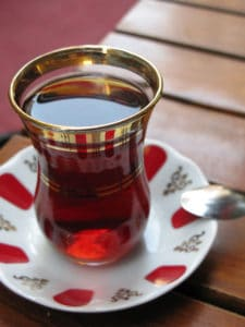Picture of typical glass of Turkish tea.