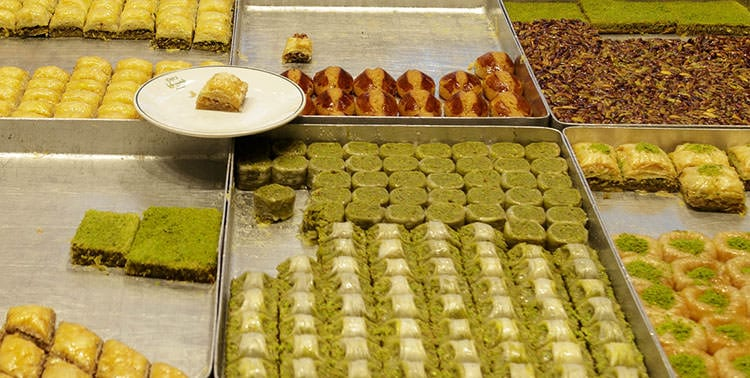 Picture of Baklava with pistachio in Istanbul, Turkey.