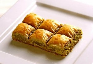 Picture of baklava with walnuts made by Köşkeroğlu in Istanbul, Turkey.