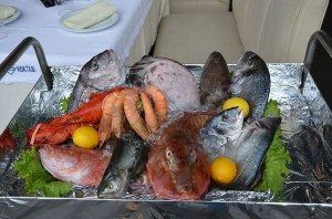 Picture of restaurant with fish on display in Istanbul, Turkey.
