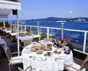 Rooftop terrace at Park Fora fish restaurant in Istanbul, Turkey.