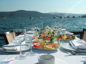 Poseidon terrace table in Istanbul, Turkey.
