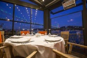 Table at Rumelihisarı İskele fish restaurant in Istanbul, Turkey.