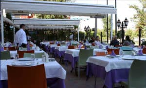 Terrace of Yüksel Balık fish restaurant in Istanbul, Turkey.