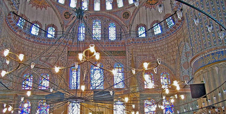 Picture of the interior of the Blue Mosque in Istanbul, Turkey.