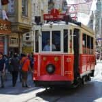 Picture of the nostalgic tram in Istanbul, Turkey.