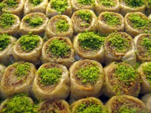 Baklava with pistachio, maybe the most famous Turkish dessert.