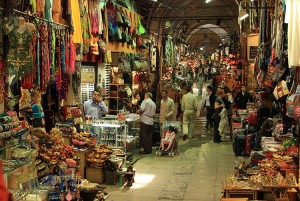 Picture inside the Grand Bazaar in Istanbul, Turkey.