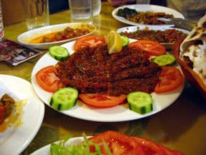Picture of mezes in a restaurant in Istanbul, Turkey.
