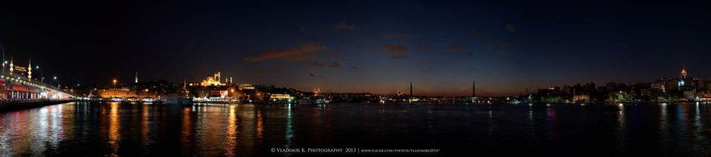 Panoramic sunset view of Istanbul.