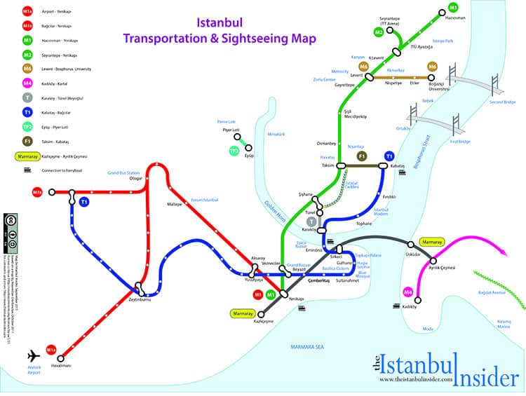 Istanbul Transportation Map With Places of Interest